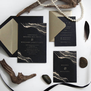 35. Deluxe Foil-Pressed Ripples Shimmer Black Invitation