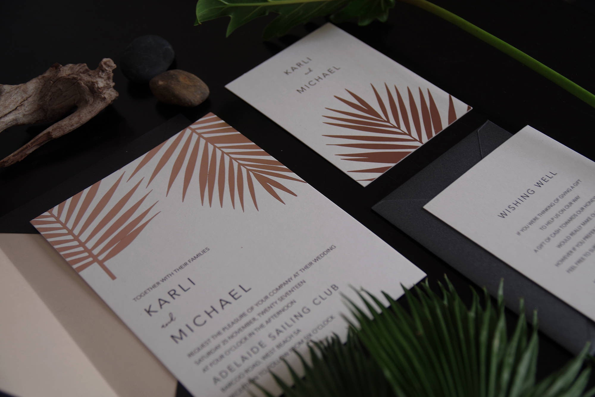 19 Elegant Rose Gold Foil Palm Modern Invitation SweetDatesPrints