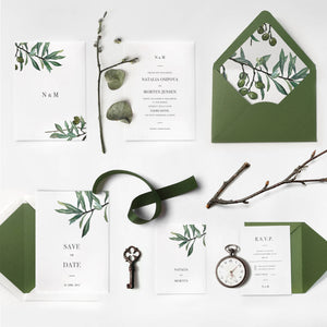 07. Modern Greenery Olive Invitation