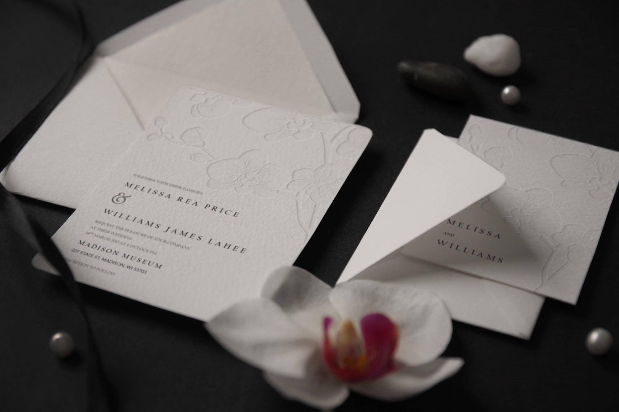 43. Royal Embossed Orchids Destination Wedding Invitation ...