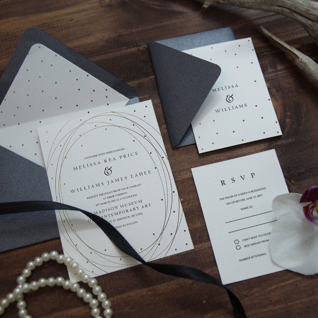 poka dot rose gold foil wedding invitation stationary