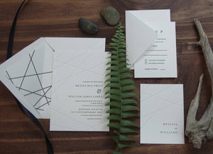 Letterpress embossing geometry wedding invitation sweetdatesprints