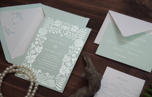 40. Enchanted Wonderland Forest Vintage Blue Invitation