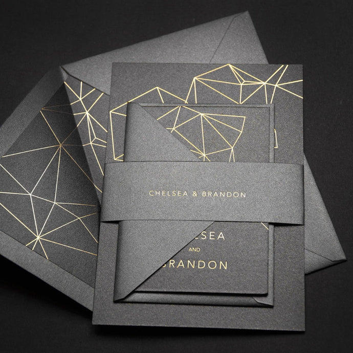 Gold foil geometry wedding invitation with highest quality