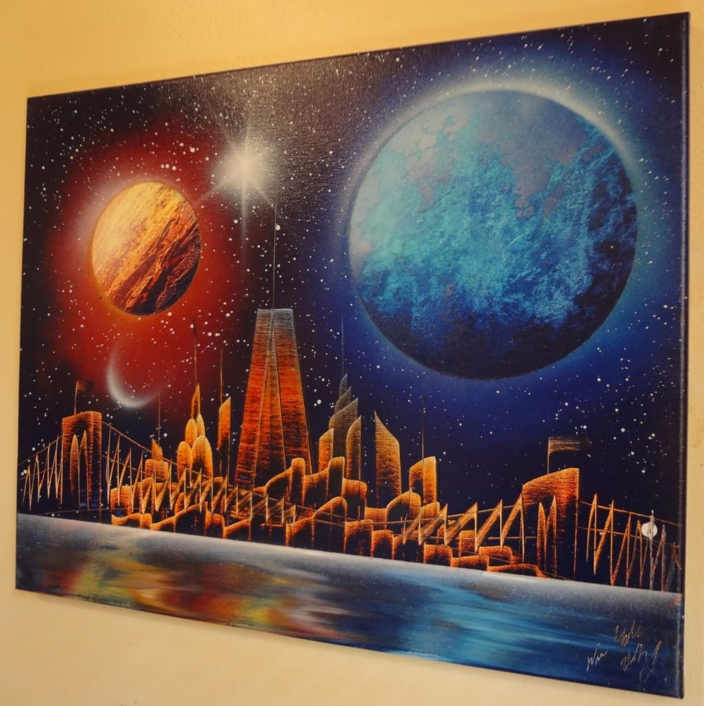 planets nyc skyline spray paint art at www 30 00
