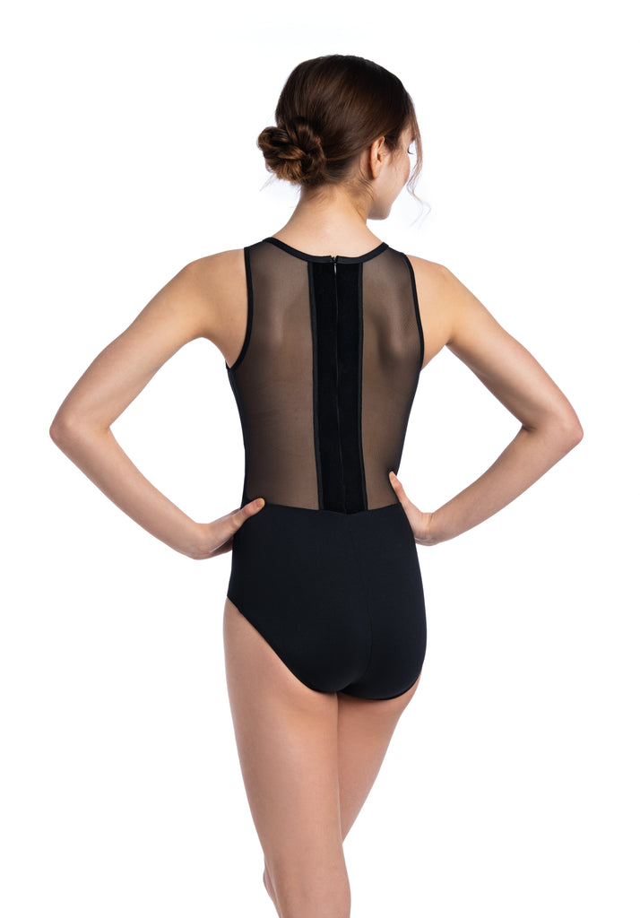 Ainsliewear Holiday Edition Naomi Leotard with Mesh and Velvet