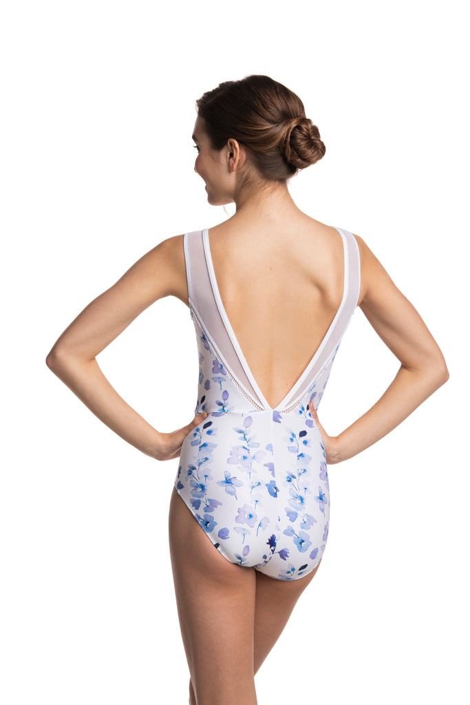 Ainsliewear Kimberly Leotard in Delphinium Print