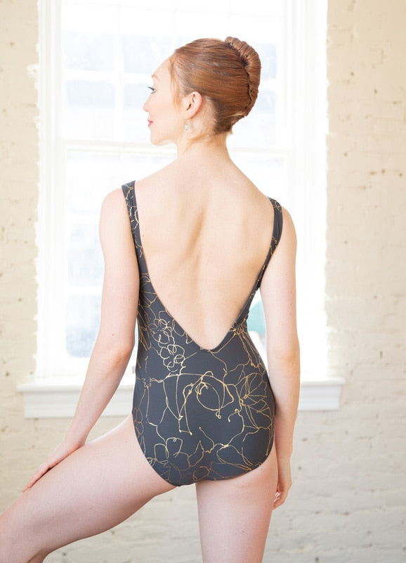Class In Boat Neck Slate and Gold Leotard