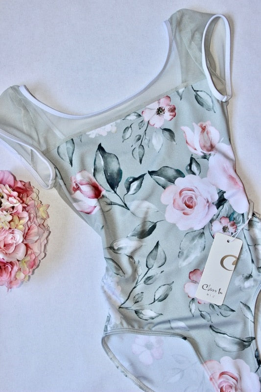 Class In Floral Cap Sleeve Leotard