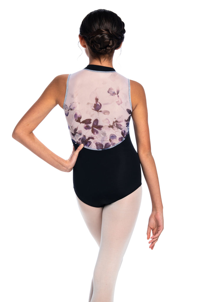 Ainsliewear Holiday Edition Girls Zip Front Leotard with Frosted Petal Print