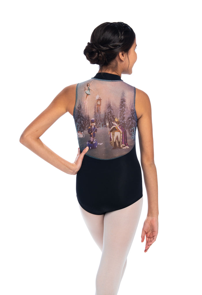 Ainsliewear Holiday Edition Girls Zip Front Leotard with Nutcracker Print