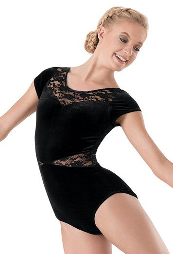 Balera Lace Inset Plush Short-Sleeve Leotard
