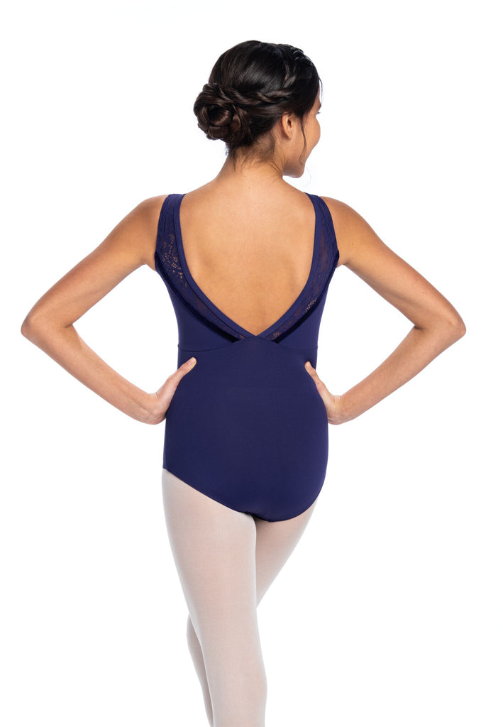 Ainsliewear Holiday Edition Girls Camille Leotard with Kara Lace and Velvet