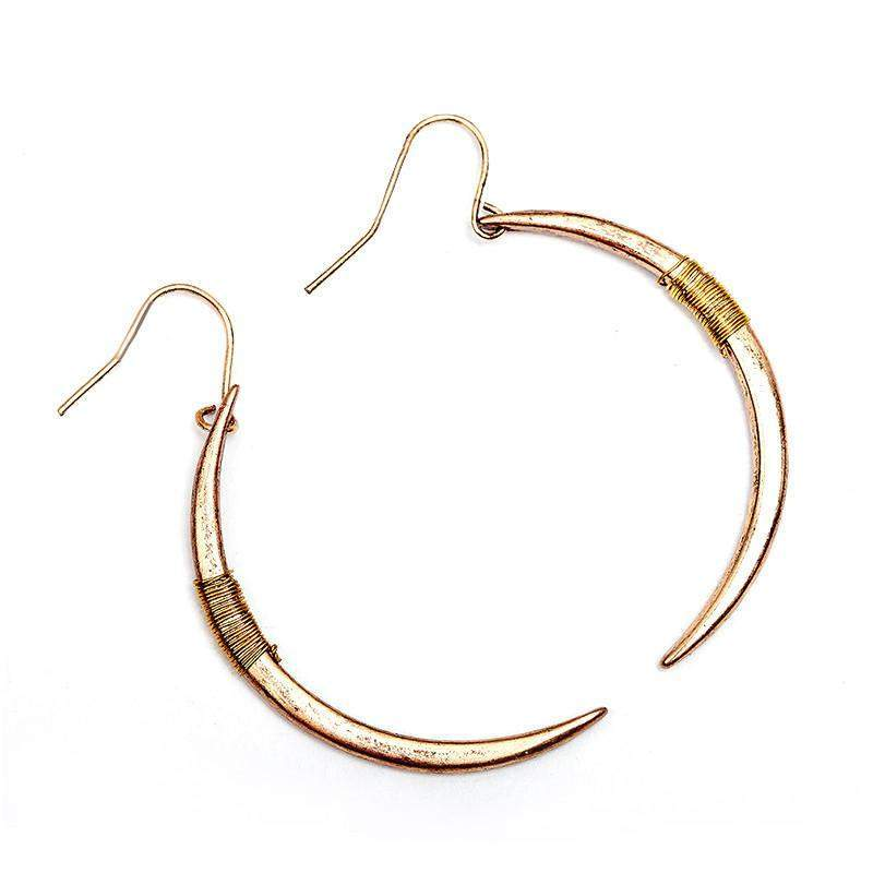 Crescent Half Moon Drop Earrings | - TribeLuxe