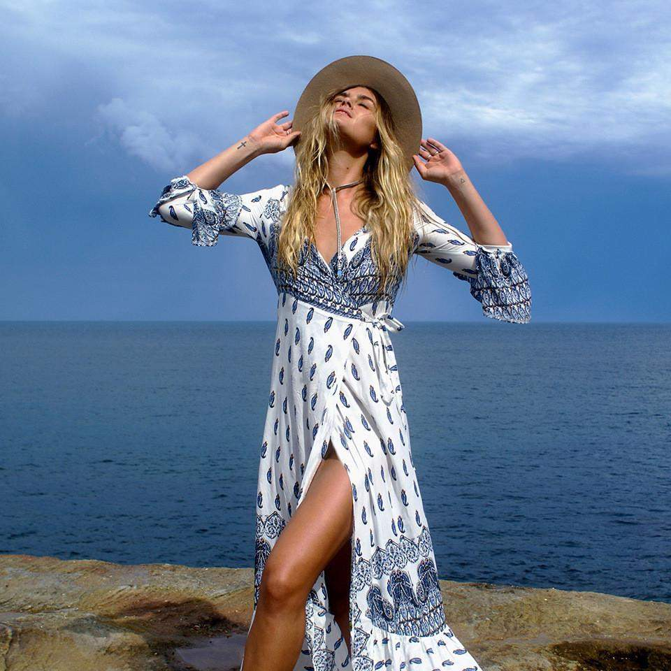 Lara 'Beach to Bar' Kaftan - Santorini Blue | - TribeLuxe