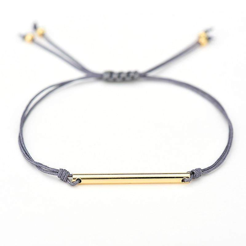 Gray Gold Bar Rope Bracelet | - TribeLuxe