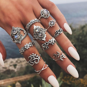 Boho Carved Ring Sets | Ring Set- TribeLuxe