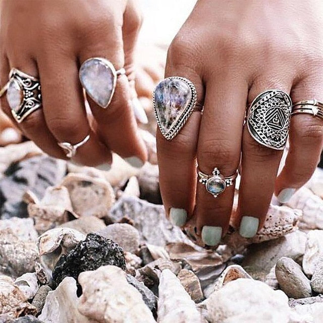 Large stone Ring Sets | Ring Set- TribeLuxe