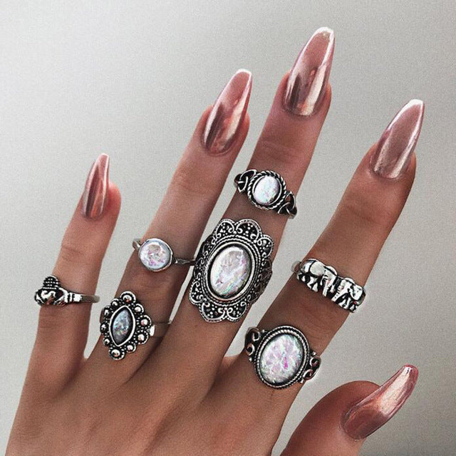 White Opal Ring Sets