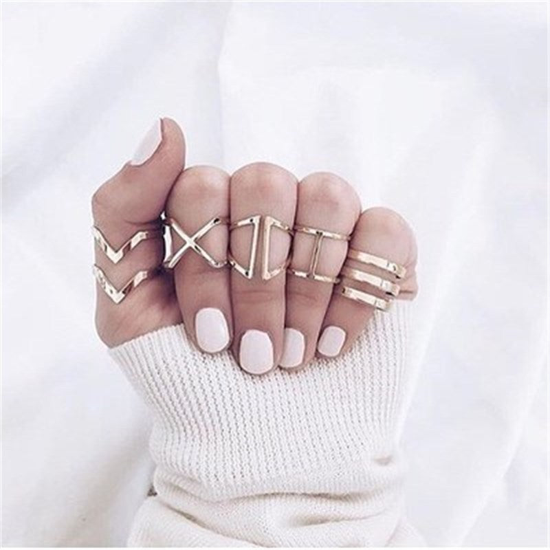 Geometric Waves Ring Set | Ring Set- TribeLuxe