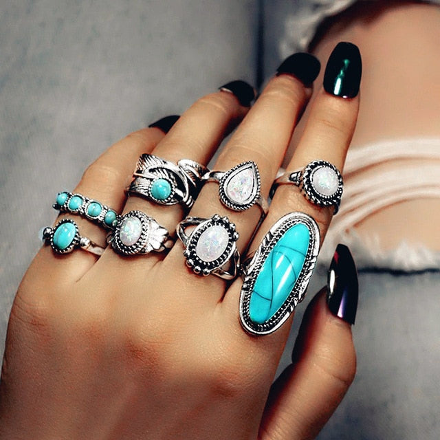 Blanco Azul Ring Set | Ring Set- TribeLuxe