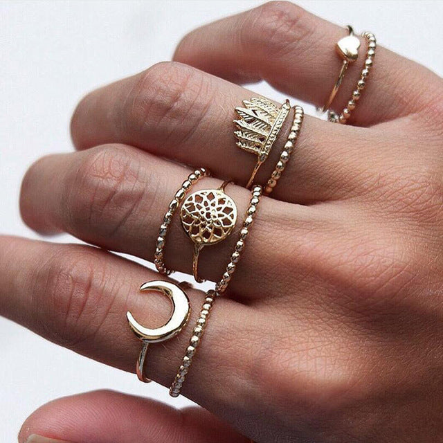 Moon Lotus Ring Set | Ring Set- TribeLuxe