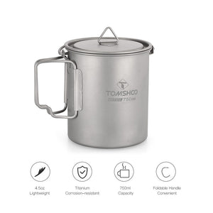 Portable Titanium Camping Pot - 750ml