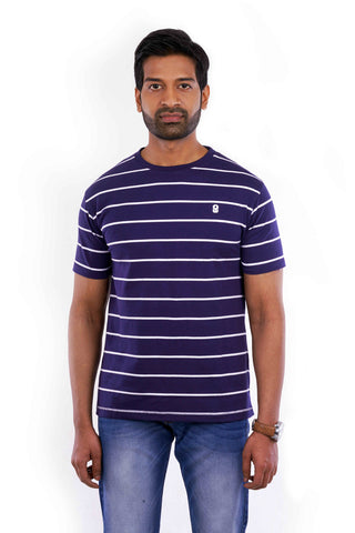 Blue striped round-neck T-shirt