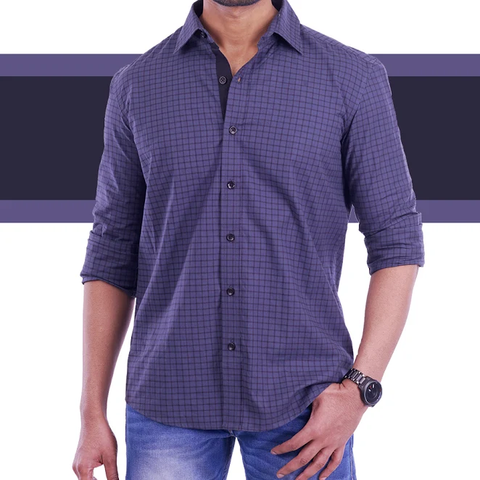 Greenish grey checked Casual Shirt