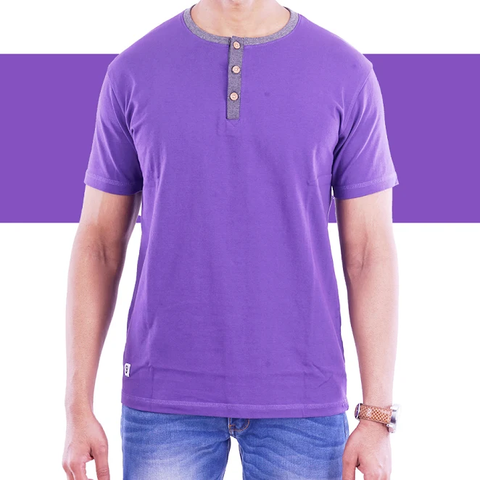 Purple Henley T-Shirt