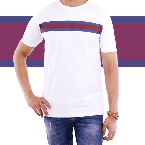 White Single Stripe T Shirt