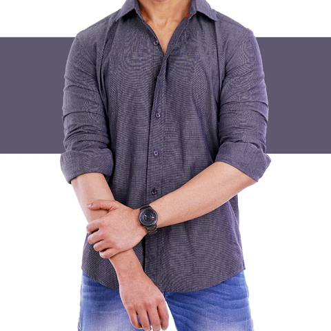 Charcoal Grey solid colour casual Shirt