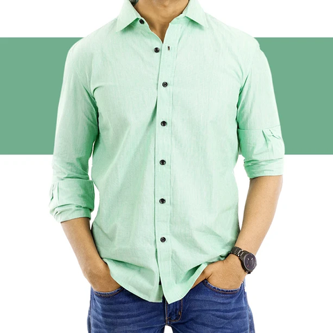 Green solid colour casual Shirt