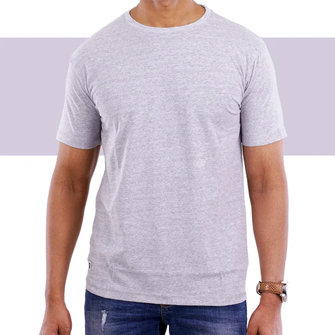 Grey round-neck T-shirt