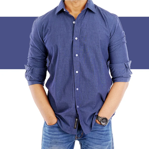 Navy Blue solid colour casual Shirt