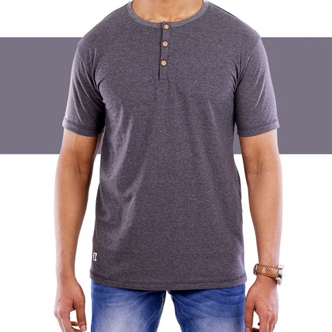 Charcoal Grey Henley T-Shirt