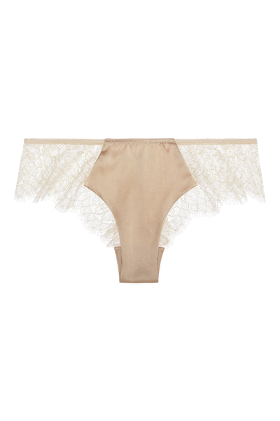** Nude and Sexy **   Sandra Silk Signature French Chantilly lace and stretch-silk satin briefs 1709 - Sandra Silk Australia