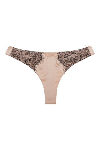 Silk thong with Chantilly lace 1706 - SILK underwear