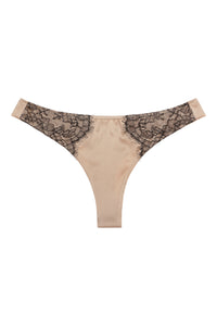 Silk thong with Chantilly lace 1705 - SILK underwear