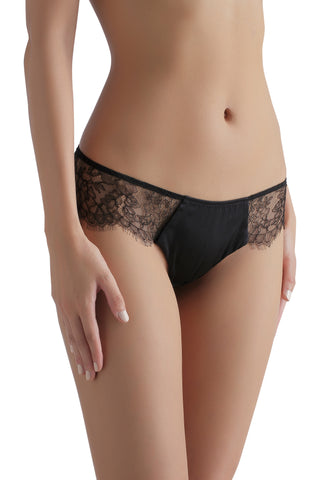 Sandra Silk Signature French Chantilly lace and stretch-silk satin briefs 1719 - SILK underwear