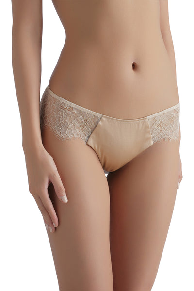 ** Nude and Sexy **   Sandra Silk Signature French Chantilly lace and stretch-silk satin briefs 1709 - SILK underwear , French lace, silk g string, silk knickers, French lingerie
