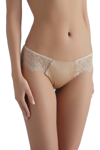 Sandra Silk Signature French Chantilly lace and stretch-silk satin briefs 1709 - SILK underwear