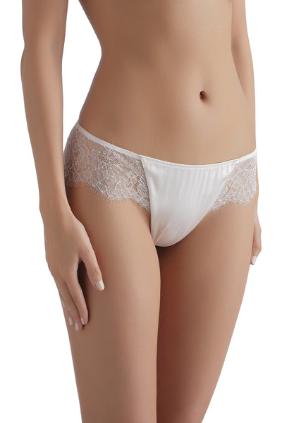** Lovers' Pick **    Sandra Silk Signature French Chantilly lace and stretch-silk satin briefs 1708 - SILK underwear , French lace, silk g string, silk knickers, French lingerie