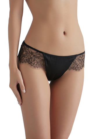 ** Lover's Pick **   Sandra Silk Signature French Chantilly lace and stretch-silk satin briefs 1707 - SILK underwear , French lace, silk g string, silk knickers, French lingerie
