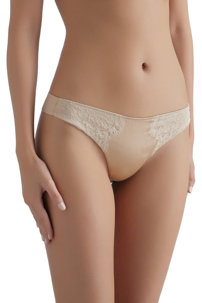 Silk thong with Chantilly lace 1704 - SILK underwear