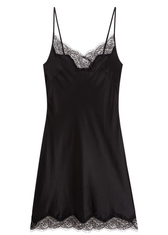 Bias Cut, Silk and French lace trim slip dress 6001