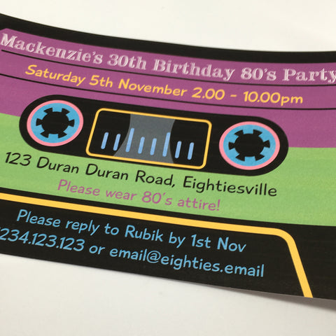 80's music cassette tape printable party invitation editable template