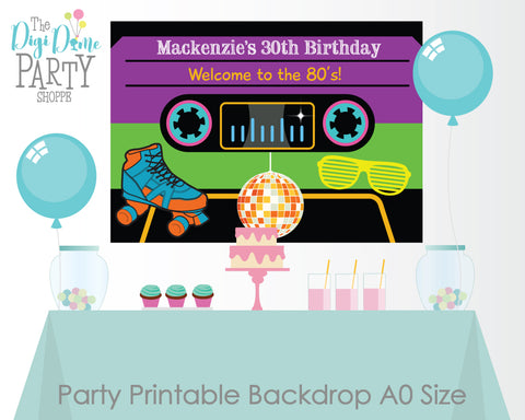 1980's printable party backdrop