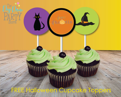 free printable halloween cupcake toppers party decorations