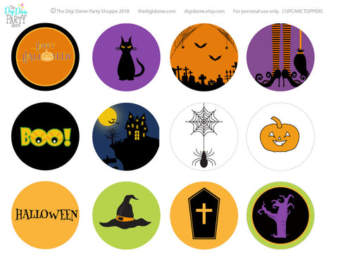 free download printable halloween cupcake toppers party decorations
